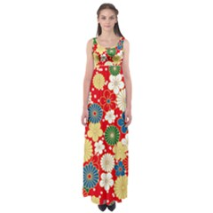 Season Flower Rose Sunflower Red Green Blue Empire Waist Maxi Dress