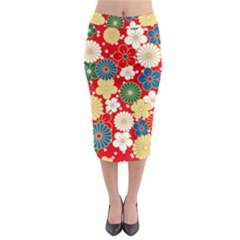 Season Flower Rose Sunflower Red Green Blue Midi Pencil Skirt