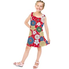 Season Flower Rose Sunflower Red Green Blue Kids  Tunic Dress