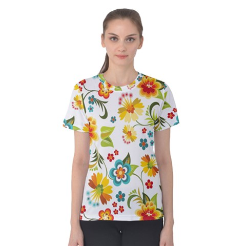 Flower Floral Rose Sunflower Leaf Color Women s Cotton Tee by Alisyart