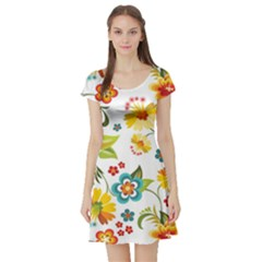 Flower Floral Rose Sunflower Leaf Color Short Sleeve Skater Dress