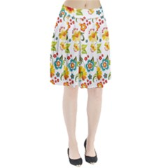 Flower Floral Rose Sunflower Leaf Color Pleated Skirt