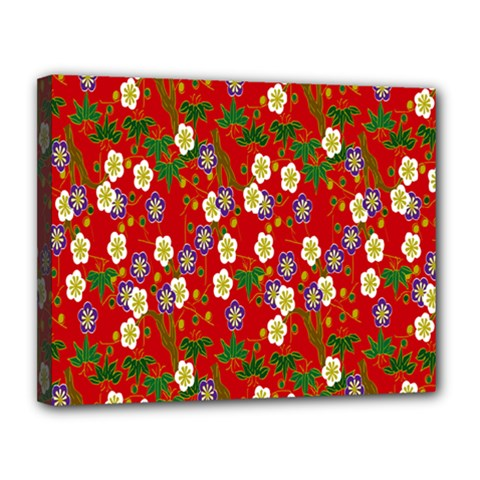 Red Flower Floral Tree Leaf Red Purple Green Gold Canvas 14  X 11  by Alisyart
