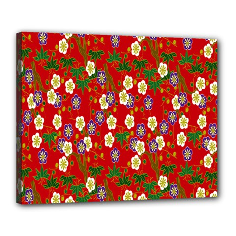 Red Flower Floral Tree Leaf Red Purple Green Gold Canvas 20  X 16