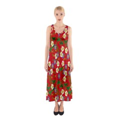 Red Flower Floral Tree Leaf Red Purple Green Gold Sleeveless Maxi Dress