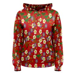 Red Flower Floral Tree Leaf Red Purple Green Gold Women s Pullover Hoodie