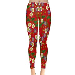 Red Flower Floral Tree Leaf Red Purple Green Gold Classic Winter Leggings
