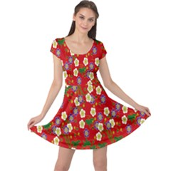 Red Flower Floral Tree Leaf Red Purple Green Gold Cap Sleeve Dresses by Alisyart