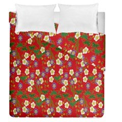 Red Flower Floral Tree Leaf Red Purple Green Gold Duvet Cover Double Side (queen Size)