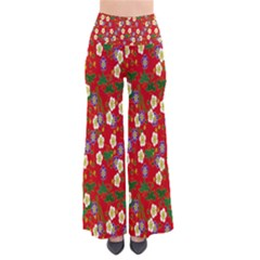 Red Flower Floral Tree Leaf Red Purple Green Gold Pants