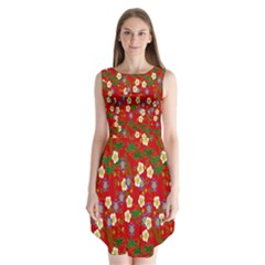 Red Flower Floral Tree Leaf Red Purple Green Gold Sleeveless Chiffon Dress