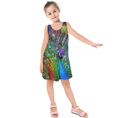 3d Peacock Pattern Kids  Sleeveless Dress