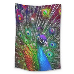 3d Peacock Pattern Large Tapestry