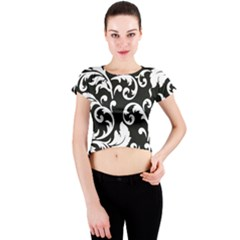 Vector Classical Traditional Black And White Floral Patterns Crew Neck Crop Top by Amaryn4rt