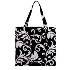 Vector Classical Traditional Black And White Floral Patterns Zipper Grocery Tote Bag by Amaryn4rt