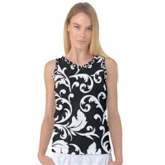 Vector Classical Traditional Black And White Floral Patterns Women s Basketball Tank Top