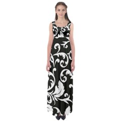 Vector Classical Traditional Black And White Floral Patterns Empire Waist Maxi Dress