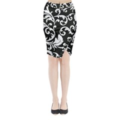 Vector Classical Traditional Black And White Floral Patterns Midi Wrap Pencil Skirt by Amaryn4rt