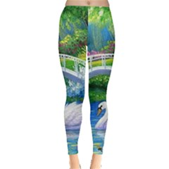 Swan Bird Spring Flowers Trees Lake Pond Landscape Original Aceo Painting Art Leggings  by Amaryn4rt