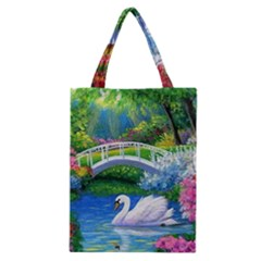 Swan Bird Spring Flowers Trees Lake Pond Landscape Original Aceo Painting Art Classic Tote Bag by Amaryn4rt