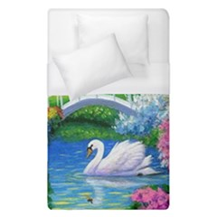 Swan Bird Spring Flowers Trees Lake Pond Landscape Original Aceo Painting Art Duvet Cover (single Size) by Amaryn4rt