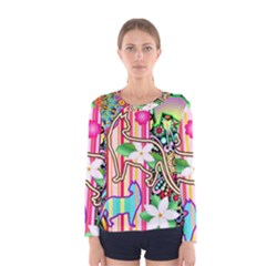 Mandalas, Cats And Flowers Fantasy Digital Patchwork Women s Long Sleeve Tee