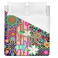 Mandalas, Cats And Flowers Fantasy Digital Patchwork Duvet Cover (queen Size) by BluedarkArt