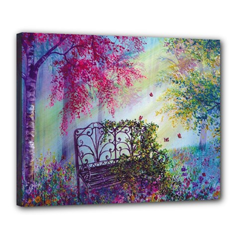 Bench In Spring Forest Canvas 20  X 16