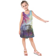 Bench In Spring Forest Kids  Sleeveless Dress by Amaryn4rt