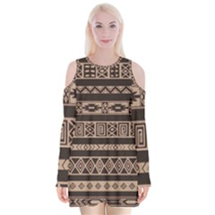 Ethnic Pattern Vector Velvet Long Sleeve Shoulder Cutout Dress by Amaryn4rt