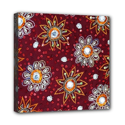 India Traditional Fabric Mini Canvas 8  X 8  by Amaryn4rt