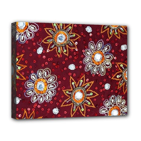 India Traditional Fabric Deluxe Canvas 20  X 16   by Amaryn4rt