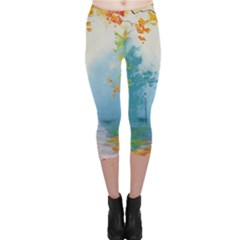 Park Nature Painting Capri Leggings  by Amaryn4rt