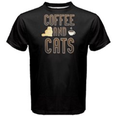 Black Coffee And Cats Men s Cotton Tee