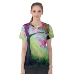 Forests Stunning Glimmer Paintings Sunlight Blooms Plants Love Seasons Traditional Art Flowers Sunsh Women s Cotton Tee by Amaryn4rt