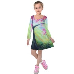 Forests Stunning Glimmer Paintings Sunlight Blooms Plants Love Seasons Traditional Art Flowers Sunsh Kids  Long Sleeve Velvet Dress