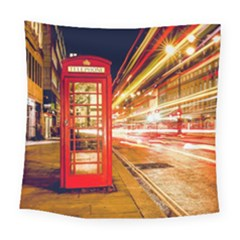 Telephone Box London Night Square Tapestry (large)