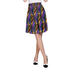 Seamless Prismatic Line Art Pattern A-line Skirt by Amaryn4rt