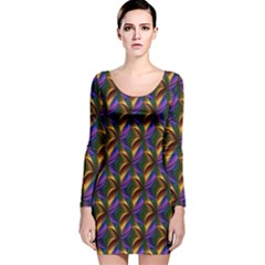 Seamless Prismatic Line Art Pattern Long Sleeve Velvet Bodycon Dress by Amaryn4rt