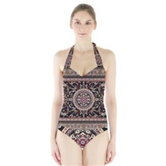 Vectorized Traditional Rug Style Of Traditional Patterns Halter Swimsuit by Amaryn4rt