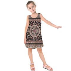 Vectorized Traditional Rug Style Of Traditional Patterns Kids  Sleeveless Dress by Amaryn4rt