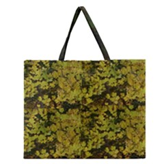 Bright Green Leaves Zipper Large Tote Bag by SusanFranzblau