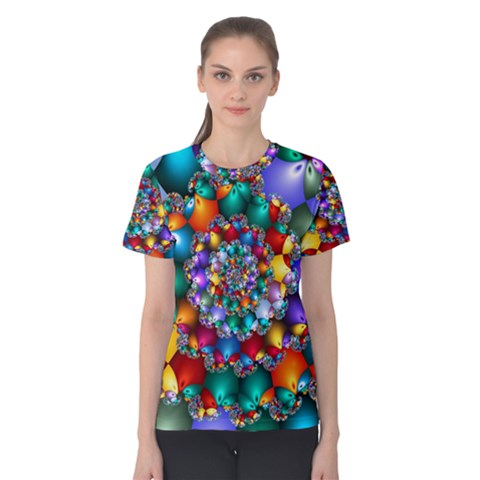 Rainbow Spiral Beads Women s Cotton Tee by WolfepawFractals