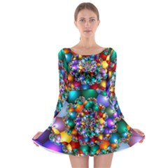Rainbow Spiral Beads Long Sleeve Skater Dress by WolfepawFractals