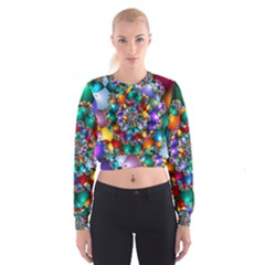 Rainbow Spiral Beads Women s Cropped Sweatshirt by WolfepawFractals