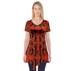 3d Metal Pattern On Wood Short Sleeve Tunic  by Amaryn4rt