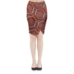 3d Abstract Patterns Hexagons Honeycomb Midi Wrap Pencil Skirt