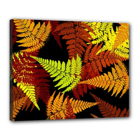 3d Red Abstract Fern Leaf Pattern Canvas 20  X 16  by Amaryn4rt