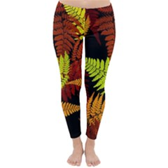 3d Red Abstract Fern Leaf Pattern Classic Winter Leggings by Amaryn4rt
