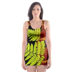 3d Red Abstract Fern Leaf Pattern Skater Dress Swimsuit